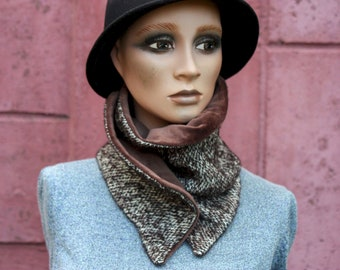 Button collar, velvet collar scarf and Tweed by Liane Marron and Beige. Winter scarf collar.