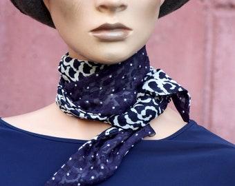 Classic Navy Long Blue women's scarf.   Lavallière retro vintage woman style muscose muscose.