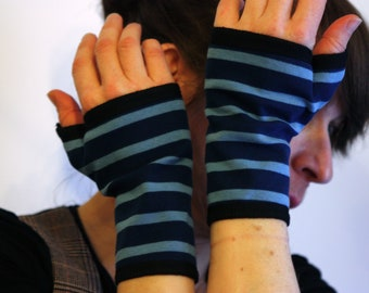 Mitten cuff short striped light blue, dark blue in flannel, cotton Jersey brushed
