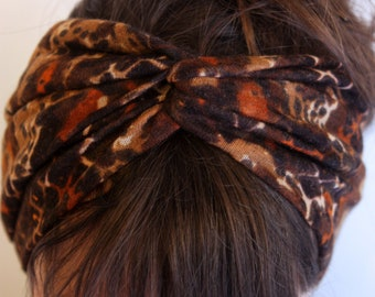 Headband headband-Turban hair brown spotted feline Jersey knit