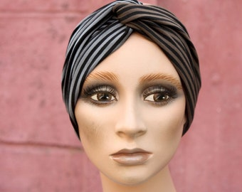 Cross-band-Turban, Bicolore Black stripe and Brown / Black and Grey, in Jersey Cotton. Headband Yoga.