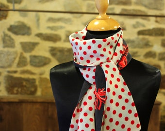 Scarf, Ascot, tie woman, bicolor white with red dots and bow red, Navy Blue, retro Look. Slice of wool