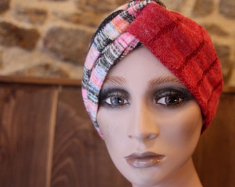 Turban Chiné Pink Yellow Pink in Jersey Lainage . Winter Band Woman Wool Tartine