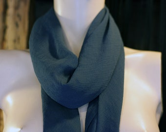 Sale empty workshop shawl square scarf in Prussian blue silk Crepe. Square scarf.