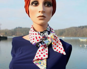 Summer white scarf woman, Lavallière-tie with red polka dots and flowers in crepe de viscose and cotton