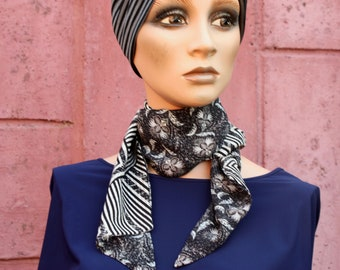 Long scarf scarf, Lavallière woman Fleuris and Black-White Graphic- Silver Grey. Tartine de Laine