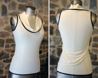 T-Shirt débardeur femme Basique Blanc-écru-ivoire .bord noir Top sans manches, en jersey coton.