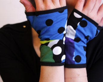 Glove/cuff with patterns graphic polka dot stripe flowers blue/green Cotton Jersey