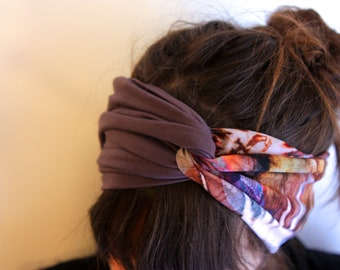 Headband-Turban spirit Retro bicolor to patterns blur purple-gray viscose and Taupe Jersey-purple