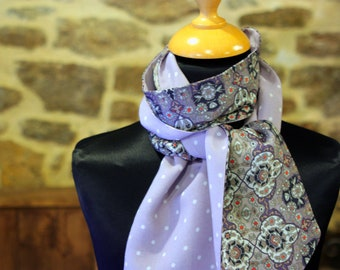Scarf, Ascot, tie women, purple with polka dots and Kaleidoscope in cotton. Slice of wool.
