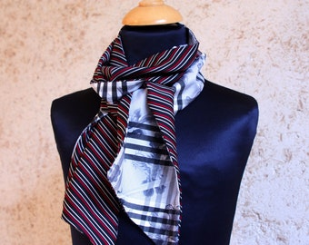Scarf, Ascot, tie women, retro Fifties stripes and gingham black-white-Red Satin acetate.