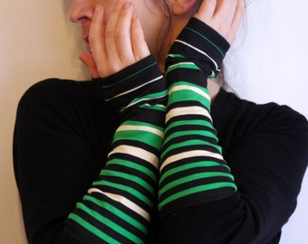 Long mittens with stripes black green white cotton Jersey