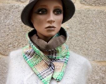 Button collar, tweed scarf In Tweed of Cotton Green White Black and Beige-Brun corduroy, winter scarf collar .