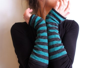 Mitten long stripe gray Turquoise mottled wool, lined Jersey cotton