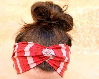 Headband hair twist, fabrics crossed way Turban Retro, Red striped jersey Cotton. Yoga headband