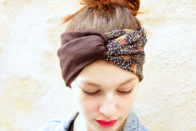 Headband Turban Coiffure Retro Bicolore Fleuris Plumetis Gris