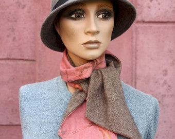 Light scarf, Pink Winter Scarf and Chevron Brown Wool. Lavallière, Pink and Brown Fine Scarf