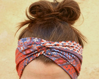 Headband-Turban woman Purple and orange patterns Cashmere Flowers. Headband in Lycra jersey.
