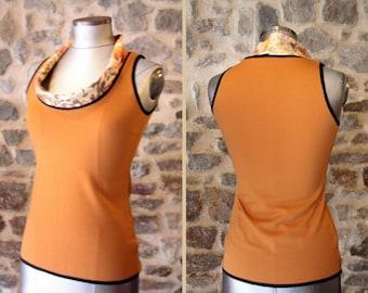 Tee Shirt tank top sleeveless Orange ochre. Mid season Jersey cotton. Mustard yellow top woman