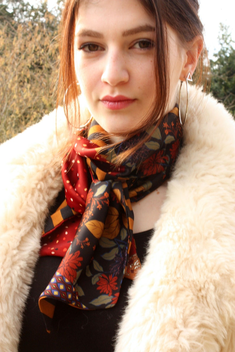 Slice of wool Ascot scarf with flowers in fall colors vintage scarves in satin