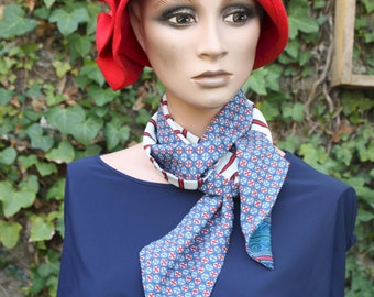Long scarf and thin blue woman - White and red . Men's/Woman Rosace and Stripe Laval. Seaside scarf