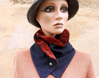 Button collar, blue navy woolly collar scarf and Copper Fauve Velvet. Winter scarf collar. Wool and cotton