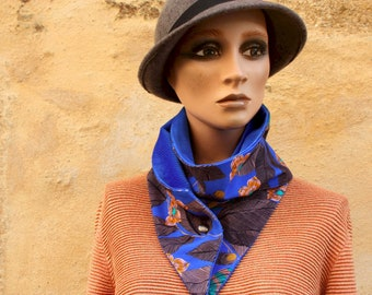 Button collar, collar scarf In Blue Cotton canvas with Flowers of Granada and Blue Velvet. Winter scarf collar.