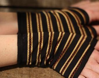 Mitten cuff short black stripe gold Lycra lined jersey cotton