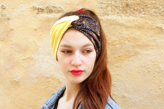 Headband Turban Retro Hairstyle Bicolor Flower Satin Gray Etsy