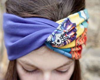 Headband-Turban style Retro bicolor blue and Kaleidoscope patterns in Jersey cotton