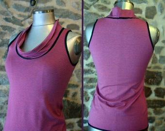 Tee Shirt sleeveless tank top, Top stripe Fine Pink-Purple, cotton Jersey.