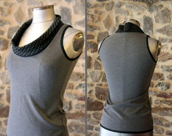 Tee Shirt tank top sleeveless sweater is black with grey polka dot collar. Mid season Jersey cotton