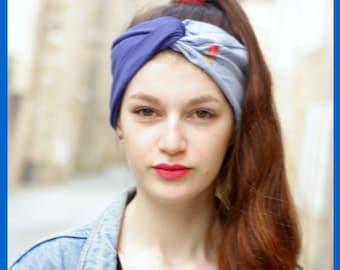 Headband-Turban hair Retro blue and white stripes and flowers. Jersey and cotton. Headband