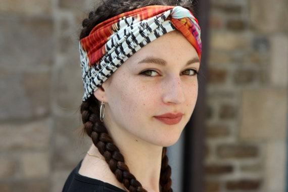 Turban headband-white-pink-orange brown ethnic patterned.  10fe400f37c