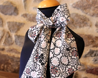 Long scarf, Ascot, tie women, bow tie woman black white and pink crepe viscose.