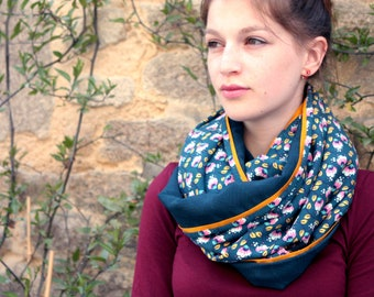 Stole-shawl, cowl scarf green duck with flowers pink-mustard. Mid season shoulder cover
