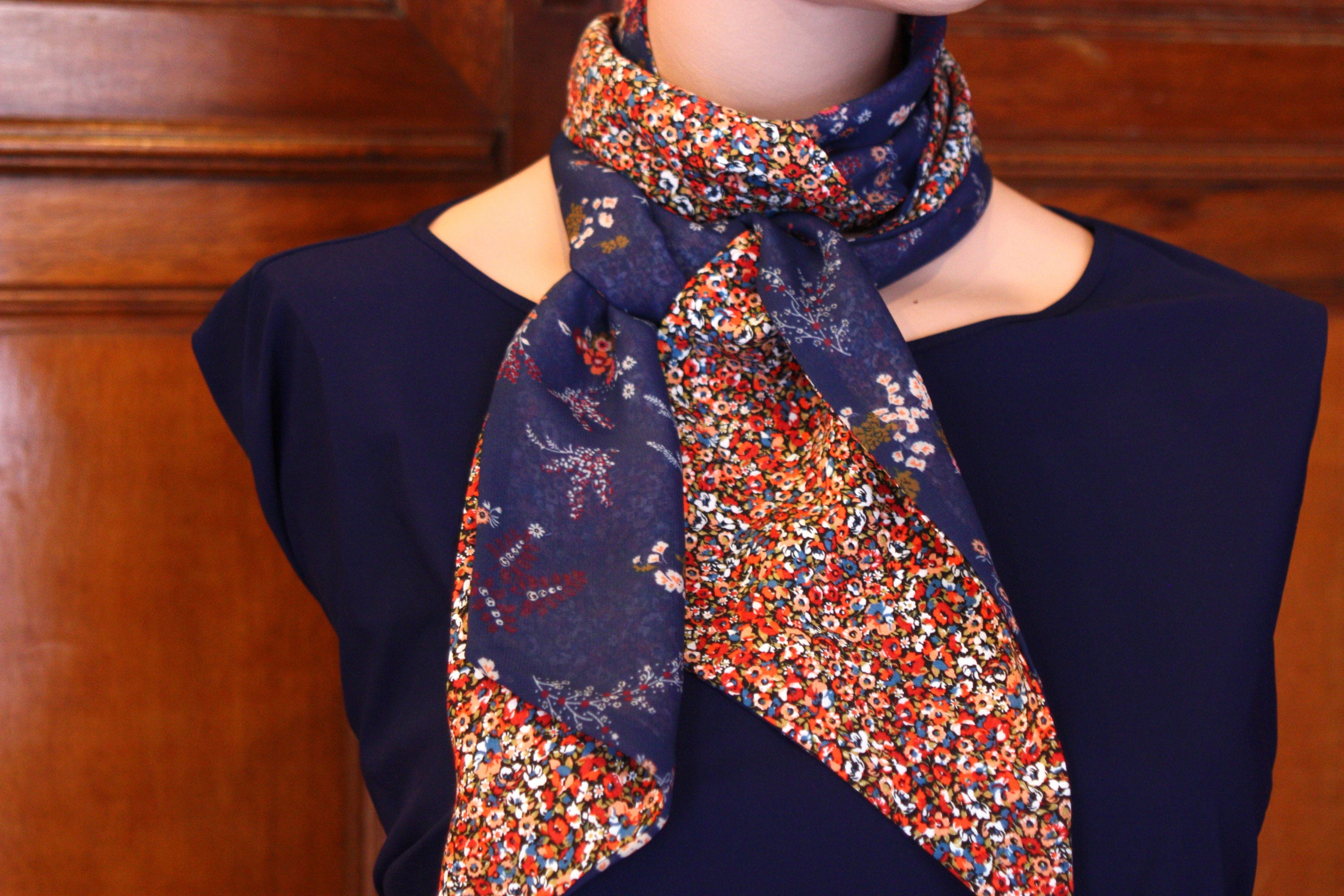 Ascot tie scarf, blue and Orange flowers  Spring scarf women