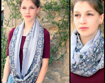 Stole-shawl, scarf with flowers and purple Pastel dots. Bohemian shoulder cover. Snood