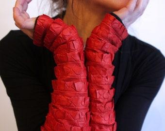 Long mittens, Orange ruffle effect faux double jersey cotton Lycra