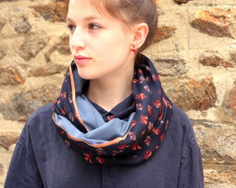 Scarf shawl stole scarf blue MarineFeuille Ginko rust. Piping gold Rose hidden shoulder mid season