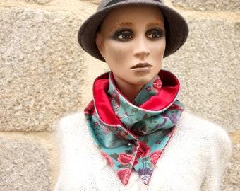 Button collar, green-blue velvet scarf printed flowers and Birds and Velvet Uni Violet. Laine Tartine Col Scarf