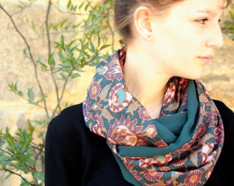 Scarf shawl blue oil and Rose Gold Thistle flowers silk crepe. Silk Snood
