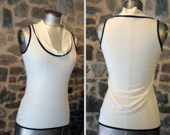 T-Shirt tank top women basic white-ecru-ivory black .Panel Top sleeveless Cotton Jersey.