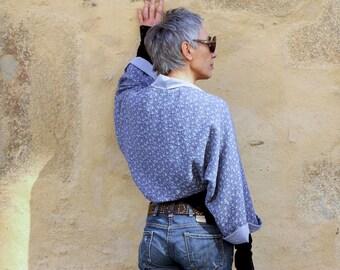 Women's Jacket Boléro-Kimono Blue Little Flowers in Cotton Lined, ideal spring summer, Bolero jacket, short kimono.
