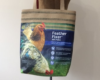 Chicken Feed Tote Bag | Maine Made | Recycled | Market Bag | Grain Bag Tote | Shopping Bag | Eco-Friendly | Chicken Lover Gift | Made in USA