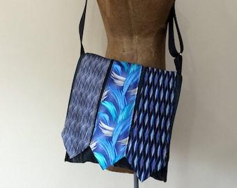 Upcycled Necktie Messenger Bag, Crossbody Bag, Handmade in Maine USA