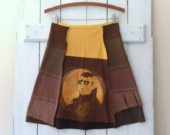 Handmade T-Skirt | Size SMALL (4/6) | Cotton Jersey Skirt | 100% Cotton | Upcycled | OOAK Sustainable Clothing | Handmade in Maine | USA