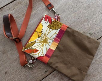 Zip Top Canvas Crossbody Bag, Vegan, Handmade in Maine, USA