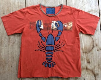 Men's Hand-Stitched Lobster T-Shirt, Upcycled, Handmade in Maine, USA