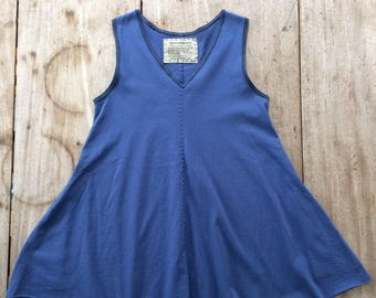 Hand-Stitched Swing Tunic, Women's size MEDIUM (8-10), 100% Cotton, Upcycled, Handmade in Maine, USA